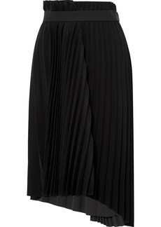 Balenciaga Pleated Crepe Midi Skirt