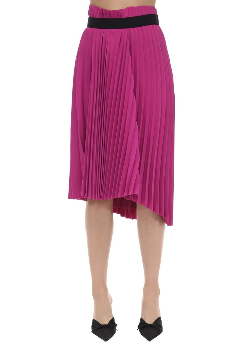 Balenciaga Pleated Crepe Skirt W/ Logo Detail