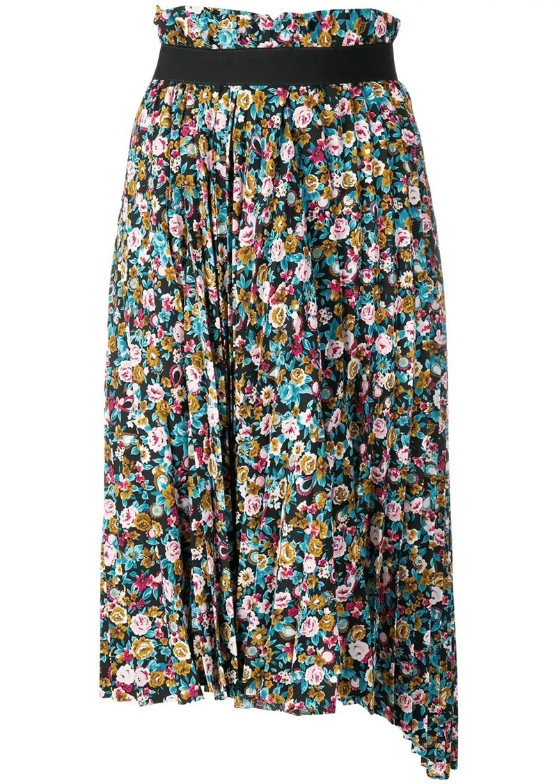 Balenciaga pleated floral skirt