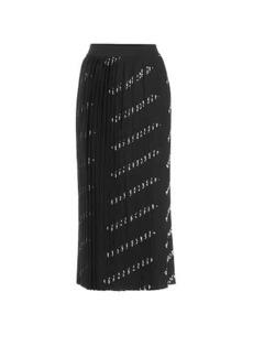 Balenciaga Logo pleated knit midi skirt