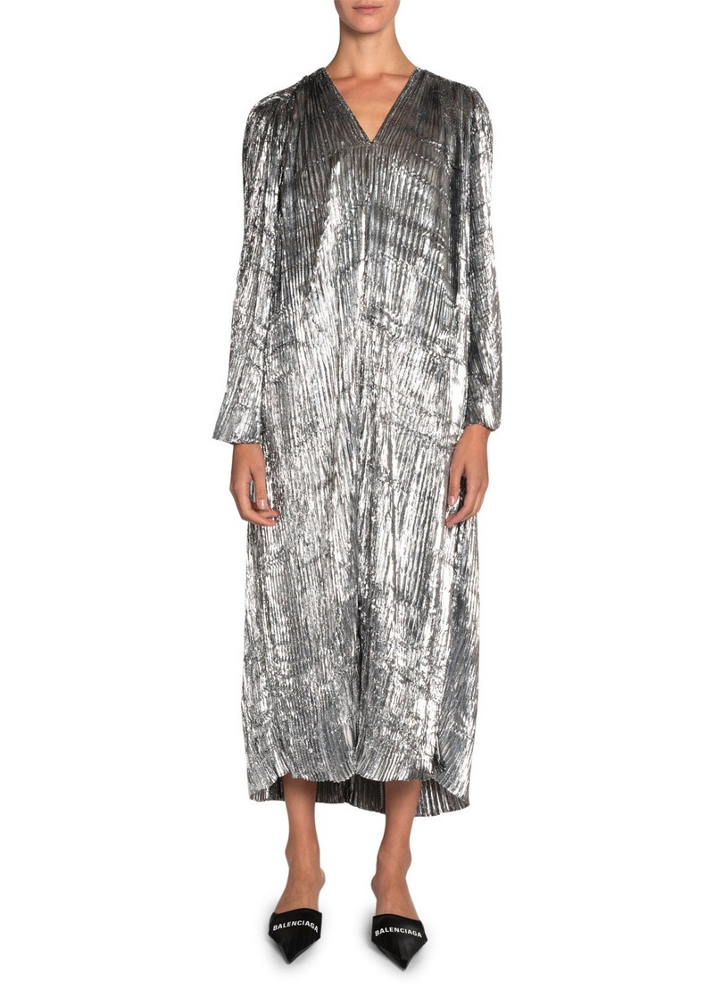 Balenciaga Pleated Metallic-Velvet Dress