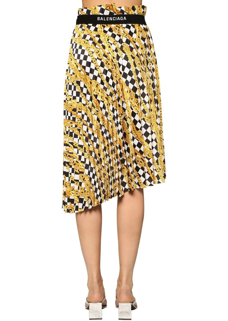 Balenciaga Pleated Print Light Satin Midi Skirt