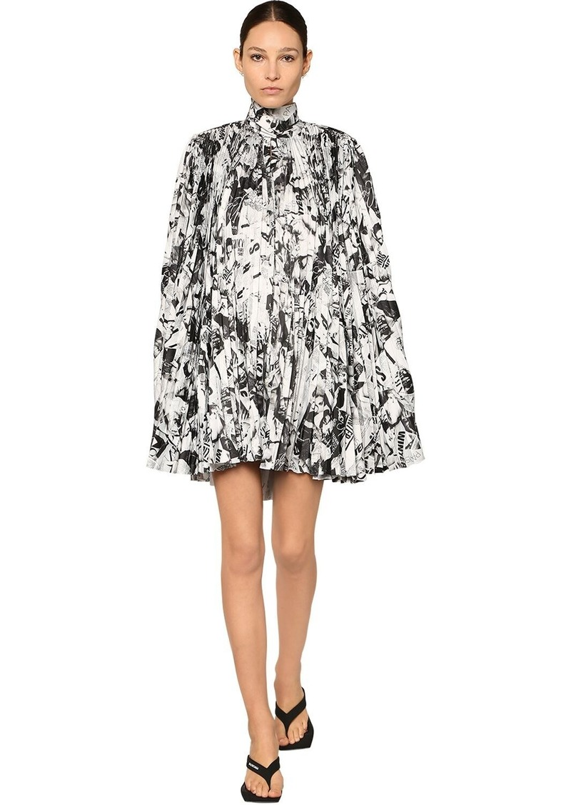 Balenciaga Pleated Print Satin Cape Mini Dress