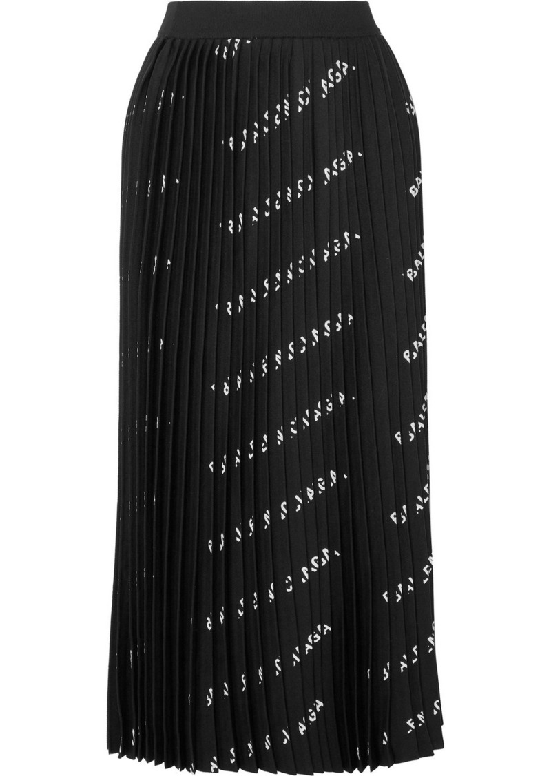 Balenciaga Pleated Printed Stretch-knit Midi Skirt