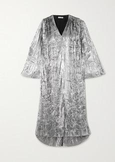 Balenciaga Plisse-lame Midi Dress