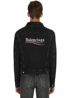 Balenciaga Political Logo Distressed Denim Jacket