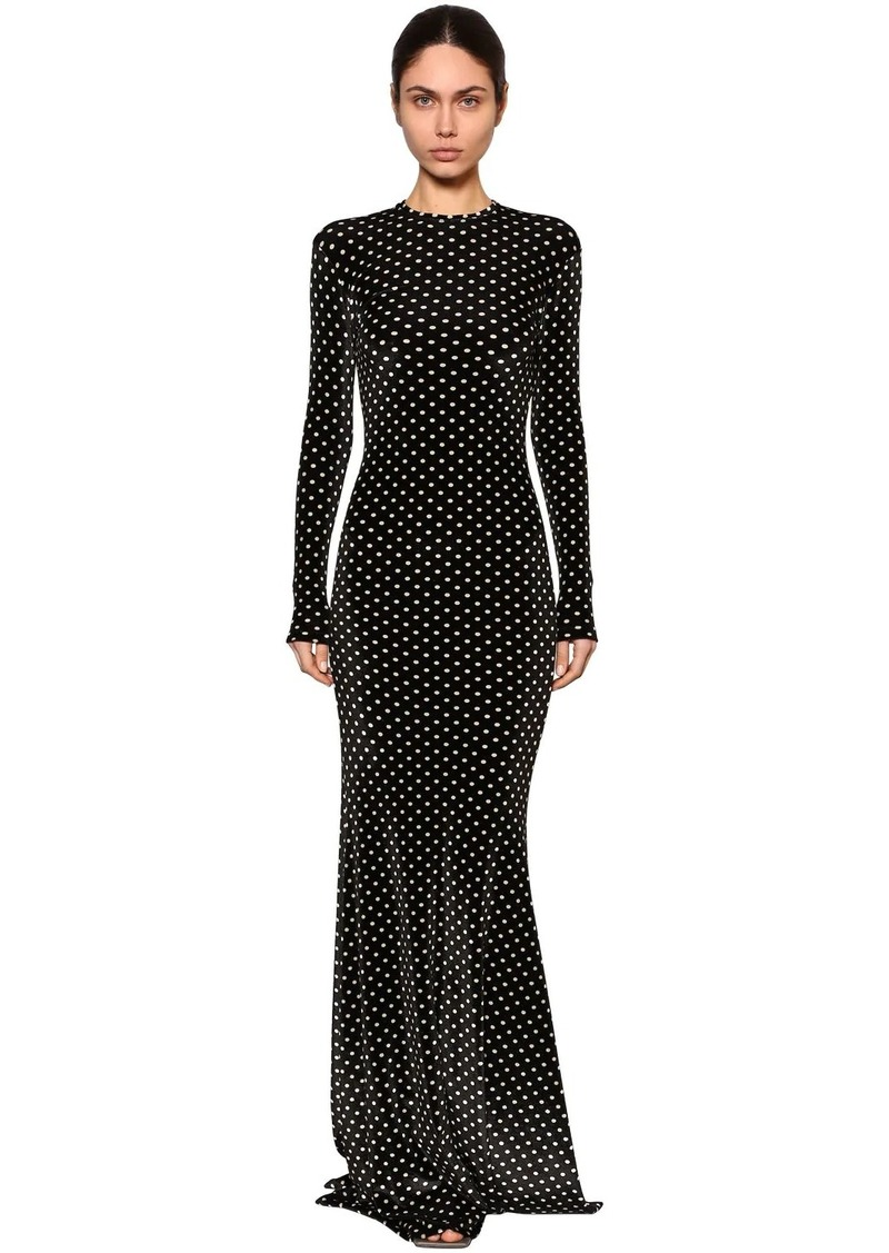 Balenciaga Polka Dots Stretch Velvet Long Dress
