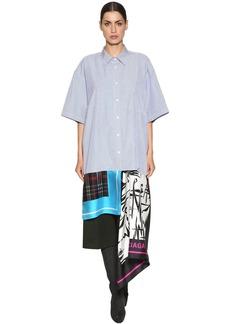Balenciaga Poplin Shirt Dress W/ Silk Scarf Skirt
