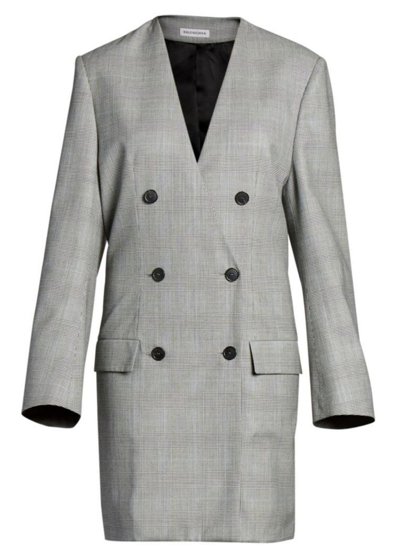 Balenciaga Prince Of Wales Wool Blazer Dress