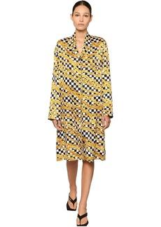 Balenciaga Printed Chains Light Satin Midi Dress