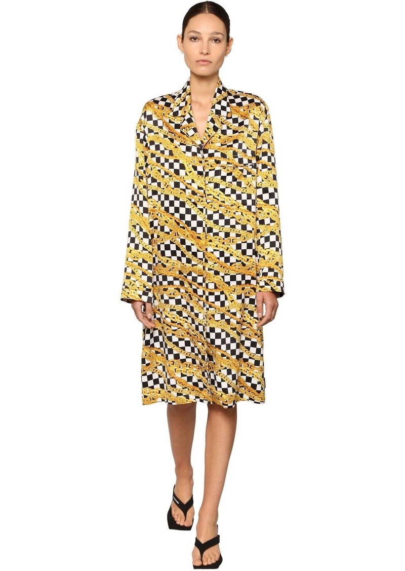 Balenciaga Printed Chains Light Satin Midi Dress