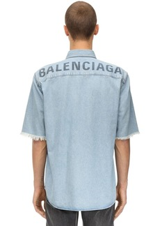 Balenciaga Printed Cotton Denim Shirt