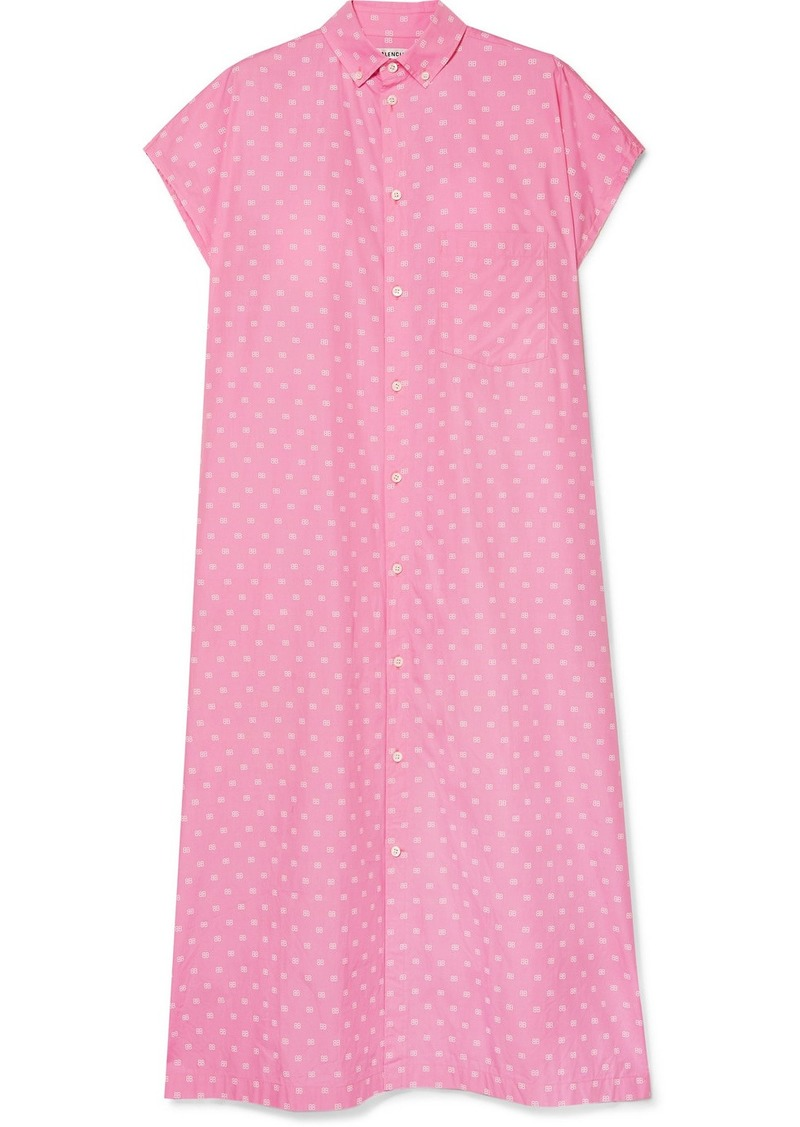 Balenciaga Printed Cotton-poplin Shirt Dress