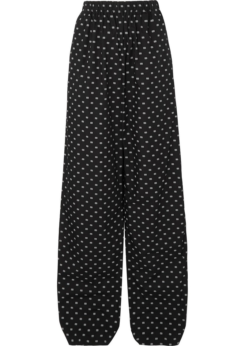 Balenciaga Printed Cotton-poplin Wide-leg Pants