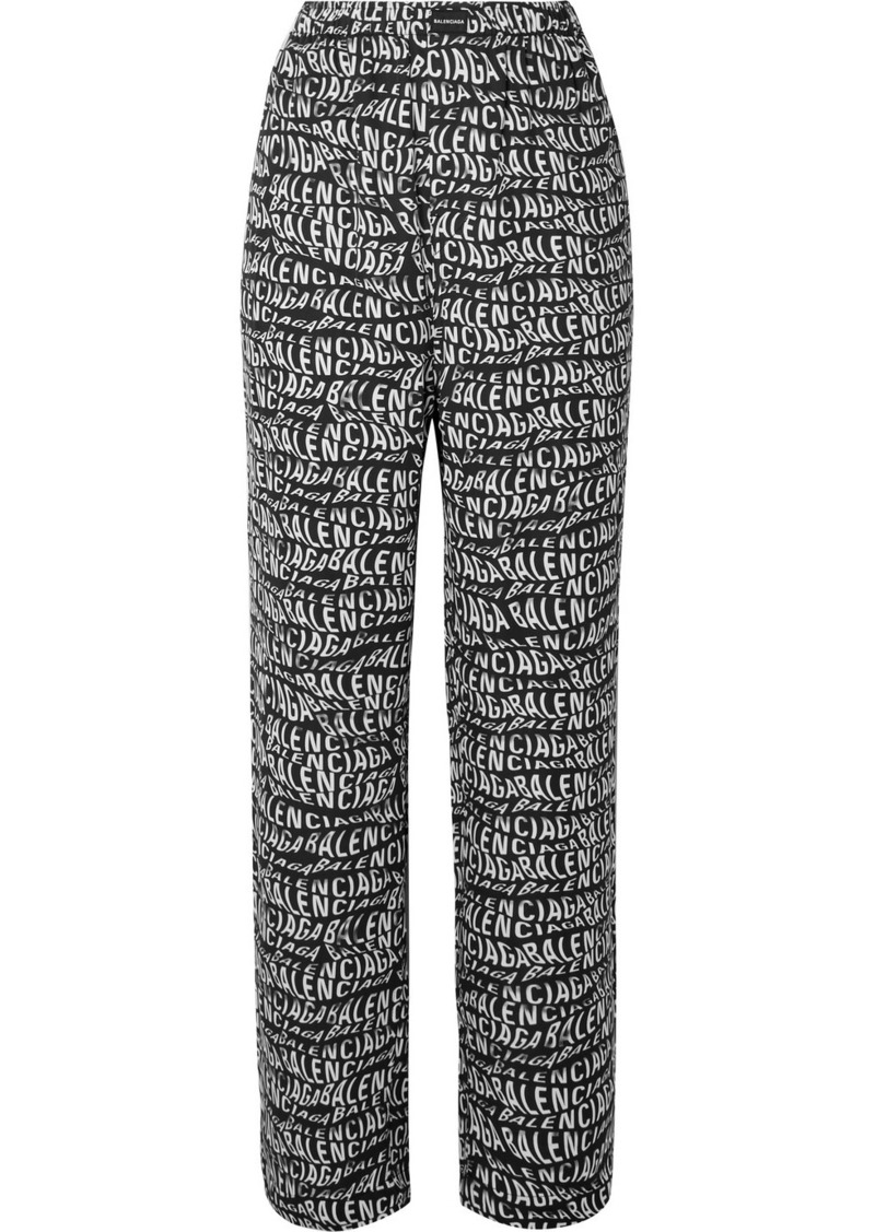 Balenciaga Printed Crepe Straight-leg Pants