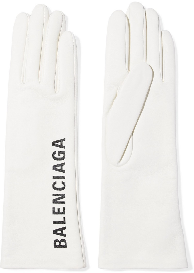 Balenciaga Printed Leather Gloves