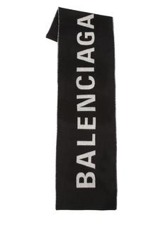 Balenciaga Printed Logo Plaid Scarf