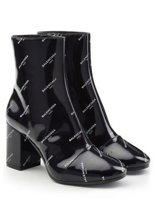 Balenciaga Printed Patent Leather Ankle Boots