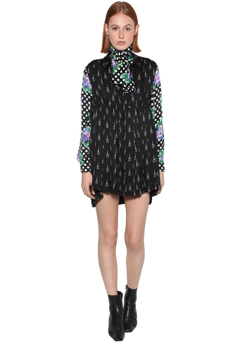 Balenciaga Printed Sleeveless Crepe Shirt Dress