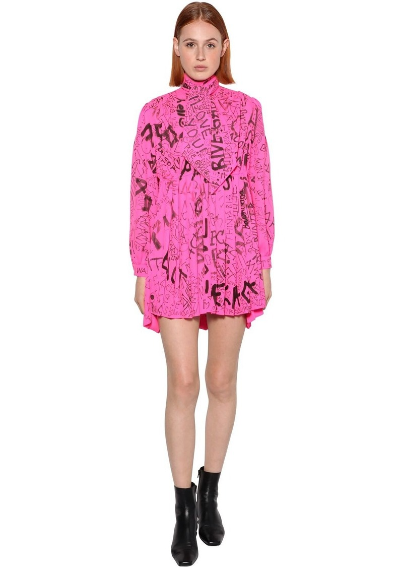 Balenciaga Printed Technical Crepe Baby Doll Dress