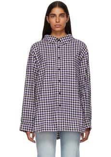 Balenciaga Purple & Black Checkered Swing Collar Shirt