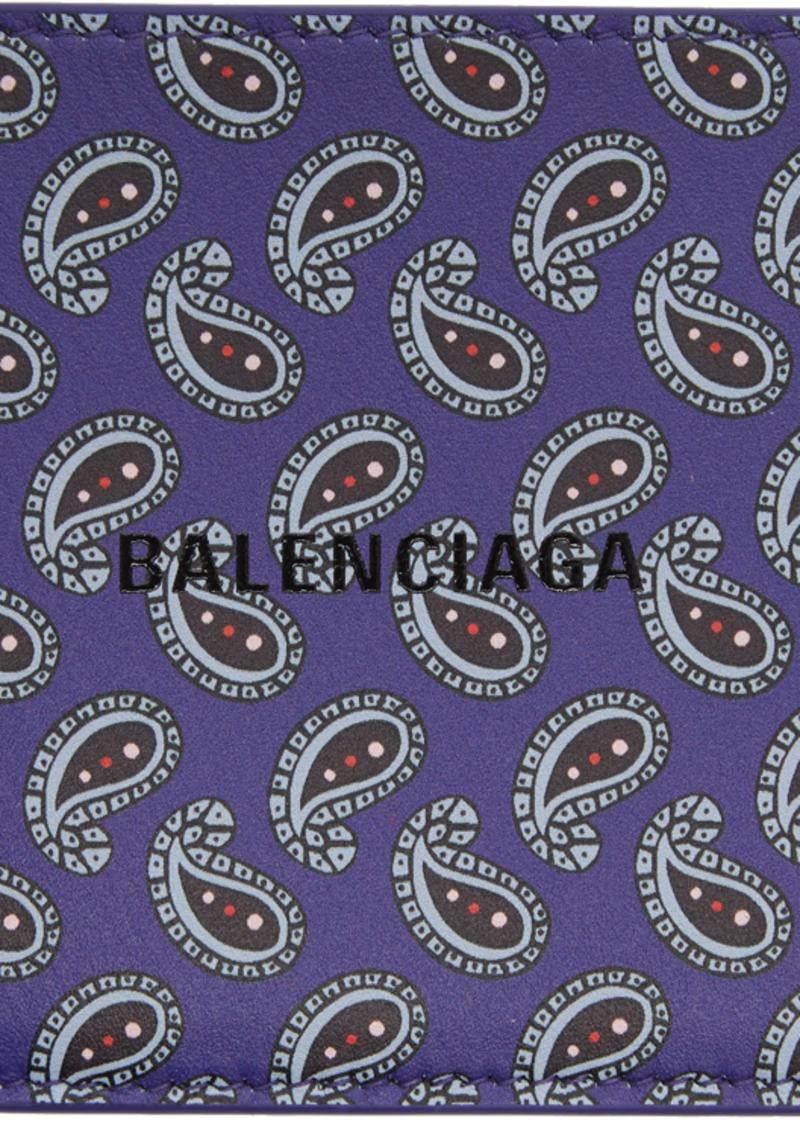 Balenciaga Purple Paisley Printed Wallet