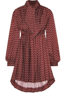 Balenciaga Pussy-bow Pleated Paisley-print Crepe Mini Dress