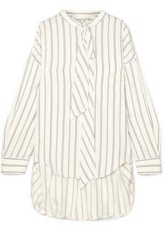 Balenciaga Pussy-bow Printed Striped Silk-piqué Shirt
