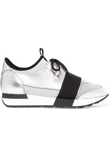 Balenciaga Race Runner Metallic Leather, Mesh And Neoprene Sneakers