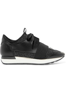 Balenciaga Race Runner Metallic Stretch-knit And Leather Sneakers