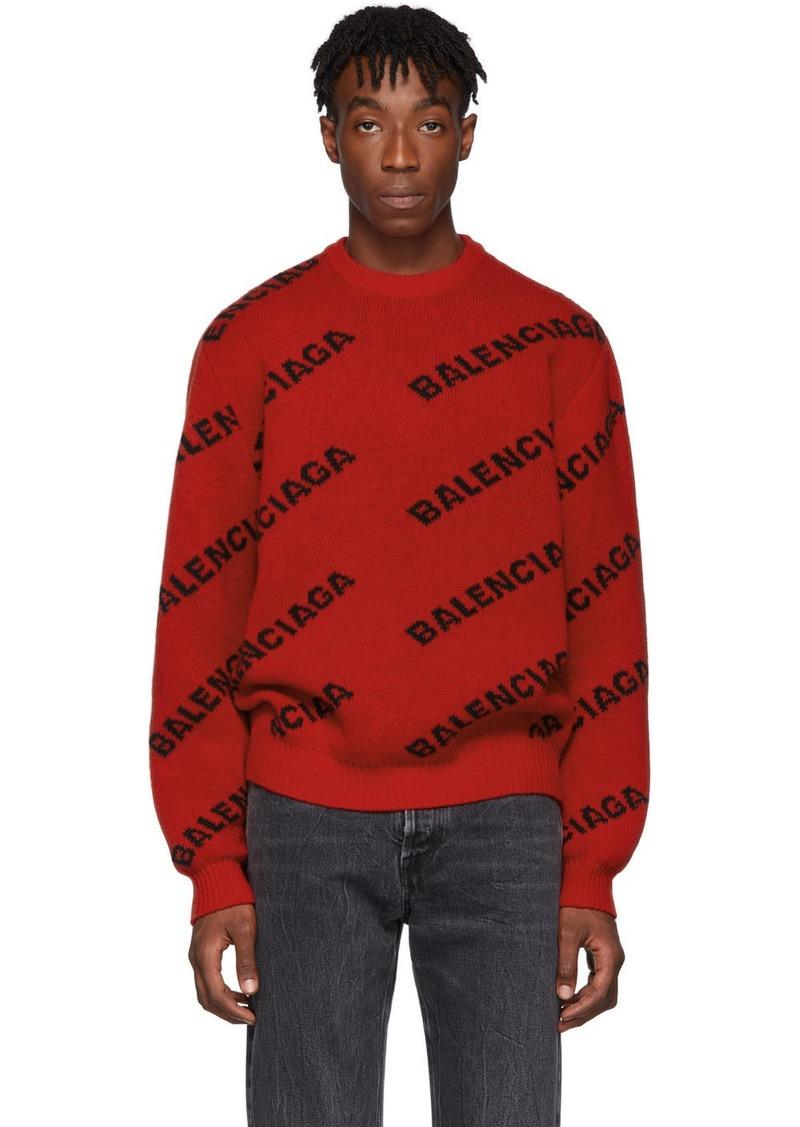 Balenciaga Red & Black Wool All Over Logo Sweater