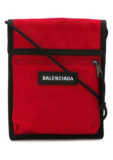 Balenciaga red Explorer logo embroidered pouch