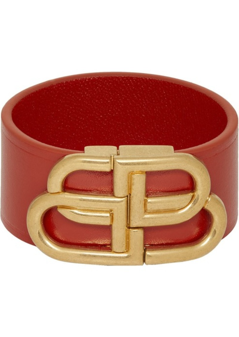 Balenciaga Red Leather BB Bracelet