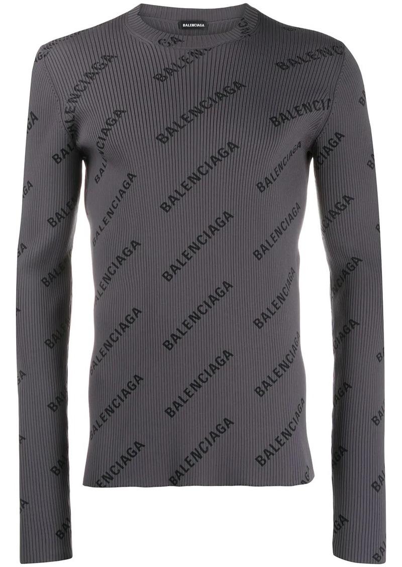 Balenciaga ribbed logo print jumper