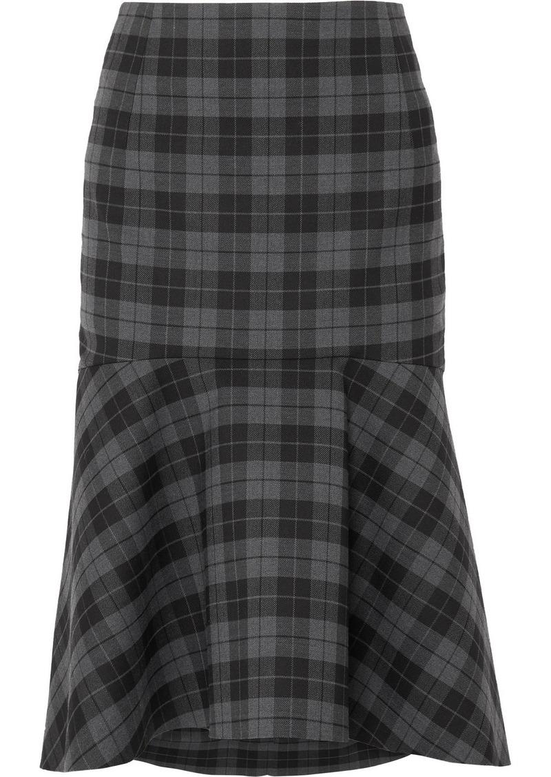 Balenciaga Ruffled Checked Twill Midi Skirt