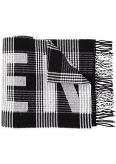 Balenciaga tartan logo scarf