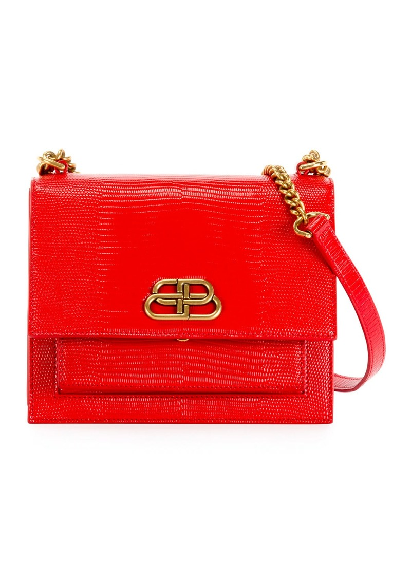 Balenciaga Sharp Small Lizard-Embossed Shoulder Bag