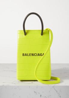 Balenciaga Shop Croc-effect Leather Shoulder Bag