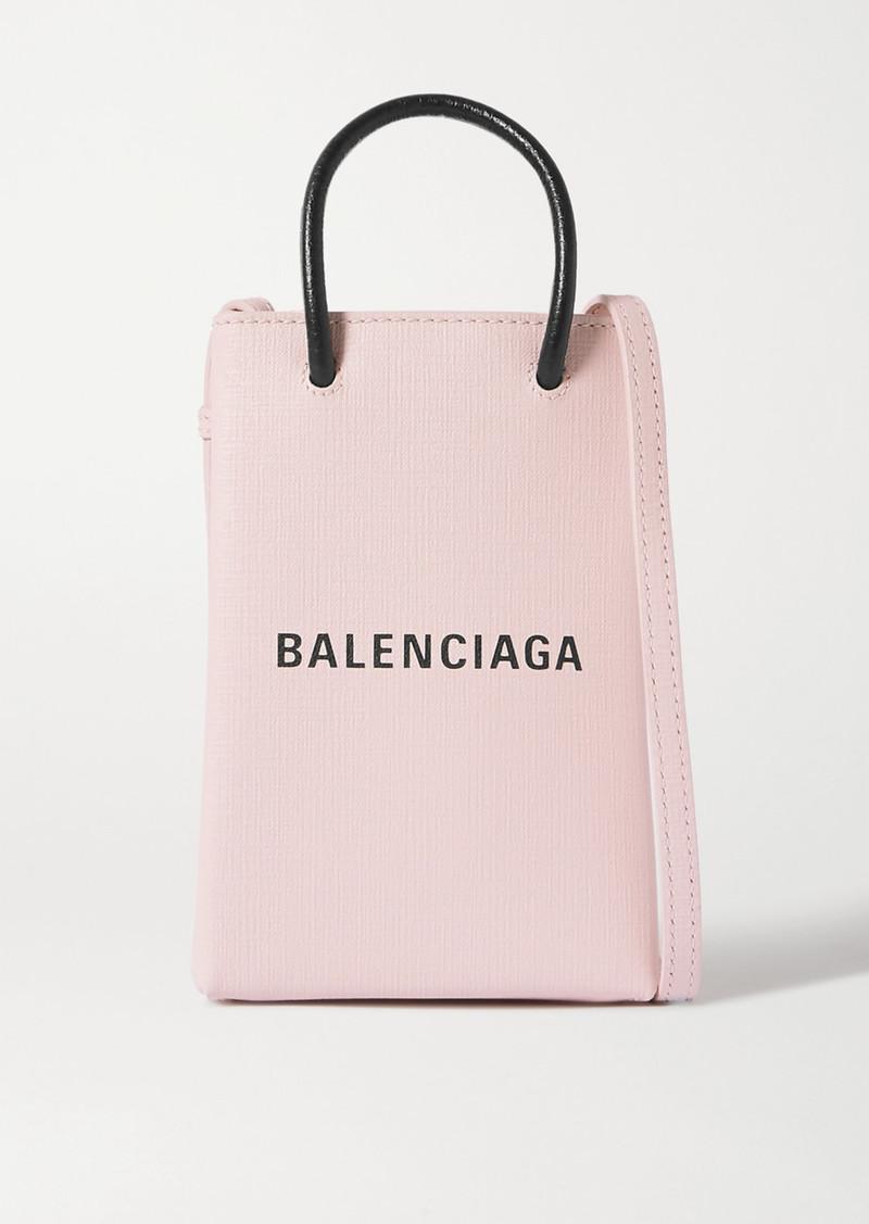 Balenciaga Shopping Mini Printed Textured-leather Shoulder Bag