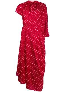 Balenciaga side pull polka dot dress