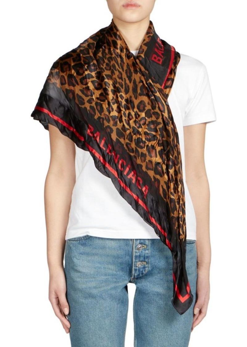 Balenciaga Silk Leopard Print Square Scarf