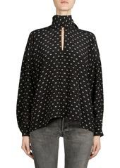 Balenciaga Silk Mini Logo Tie-Neck Blouse
