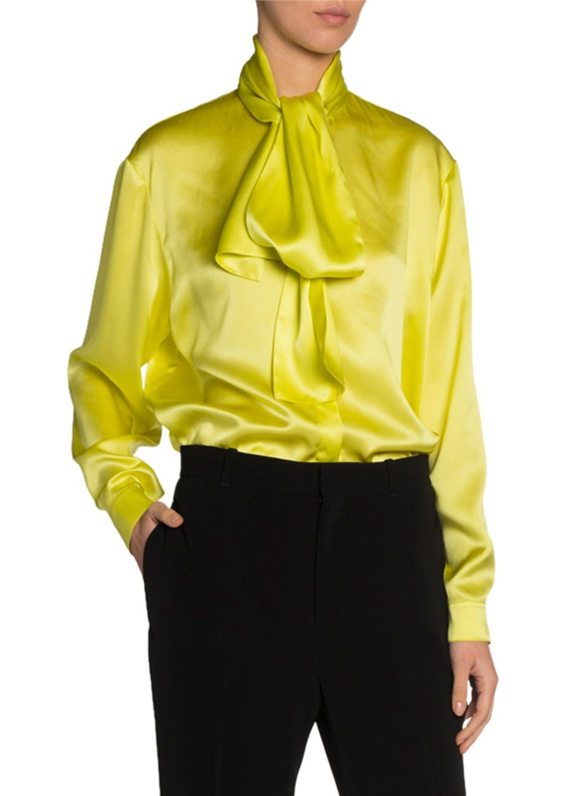Balenciaga Silk Satin Tie-Neck Blouse