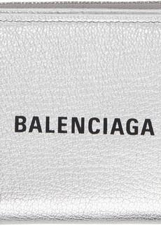 Balenciaga Silver & Black Small Square Logo Wallet
