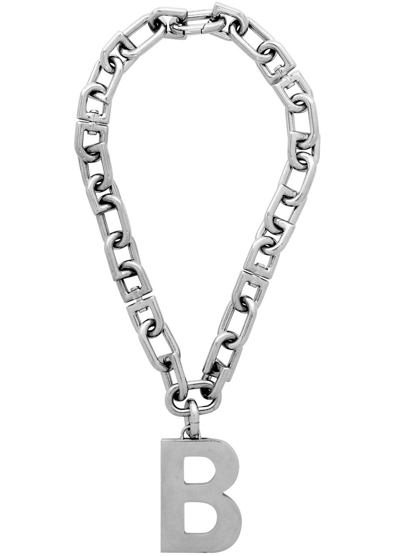 Balenciaga Silver B Necklace