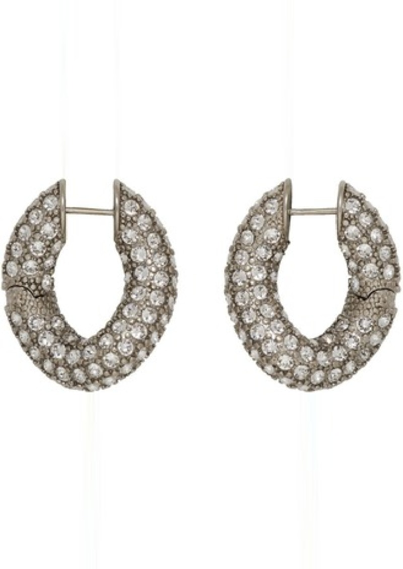 Balenciaga Silver Crystal Loop Earrings