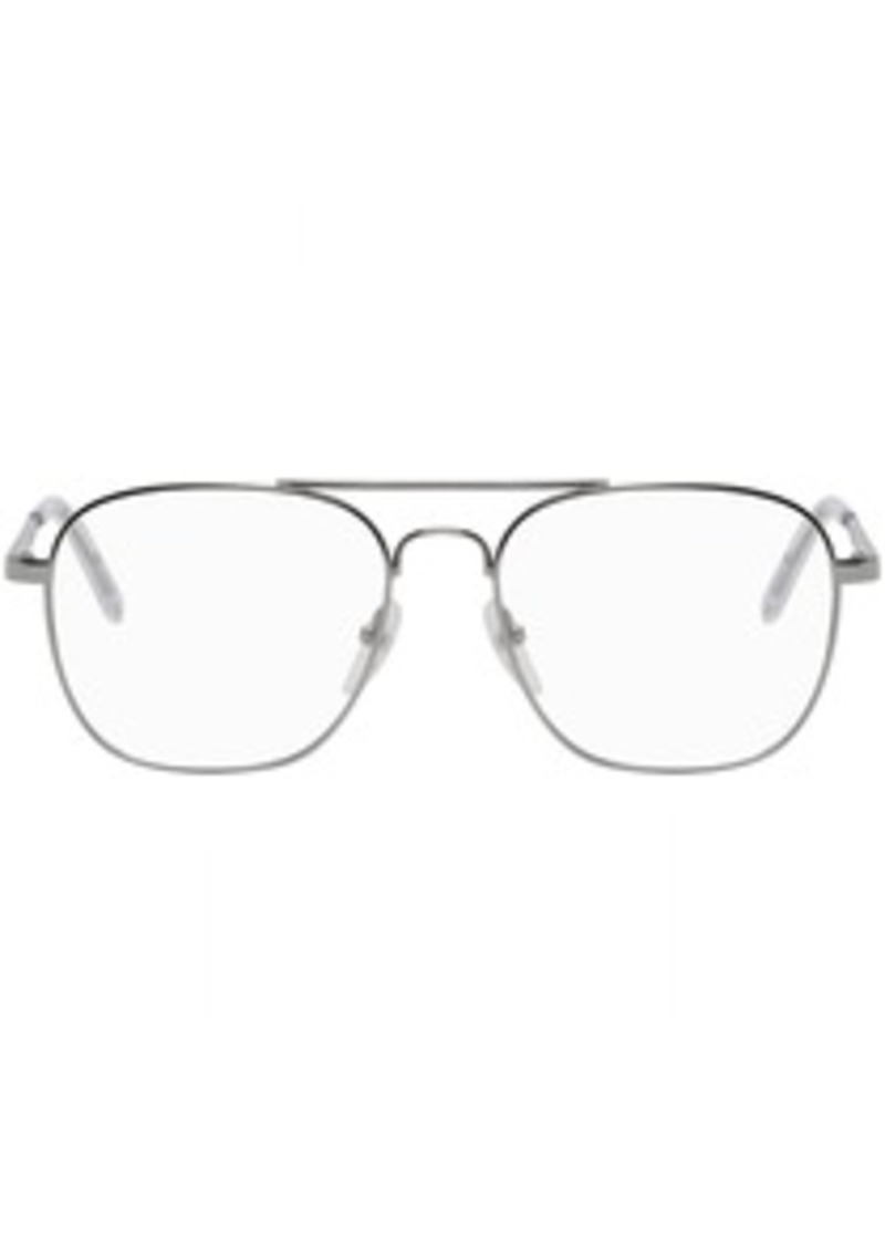 Balenciaga Silver Metal Pilot Glasses
