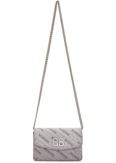Balenciaga Silver Shimmer BB Wallet On Chain Bag