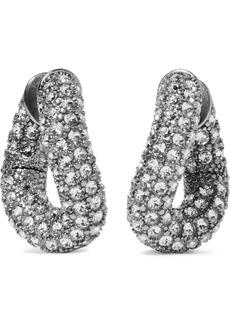 Balenciaga Silver-tone Crystal Hoop Earrings