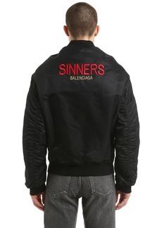 Balenciaga Sinners Embroidered Satin Bomber Jacket